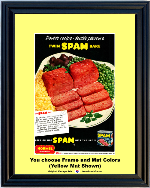 1949 Spam Hormel Vintage Ad Good Food Pure Pork Product Can Canned Dinner Meal 49 *You Choose Frame-Mat Colors-Free USA S&H*