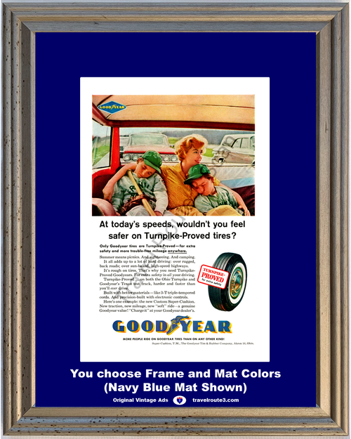 1961 Goodyear Tires Ohio Turnpike Vintage Ad Proved Turnpike Texas Test Track Triple Tempered Cords 61 *You Choose Frame-Mat Colors-Free USA S&H*