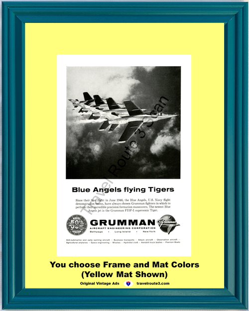 1961 Grumman Aircraft Blue Angels Vintage Ad Flying Tigers U.S. Navy Fighter Jet F11F-1 Supersonic *You Choose Frame-Mat Colors-Free USA S&H*