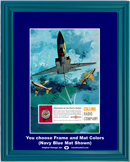 1961 Collins Radio Company Vintage Ad Naval Aviation CNI System Grumman A2F North American A3J McDonnell 61 *You Choose Frame-Mat Colors-Free USA S&H*