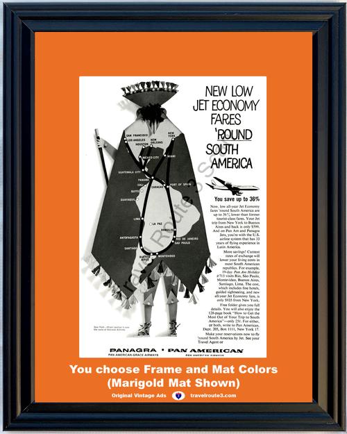 1961 61 Panagra Pan American Airways South America Vacation Travel Vintage Ad