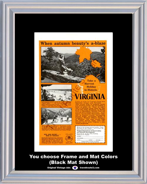 1961 61 Virginia Autumn Blue Ridge Mountains Vacation Beach Skiing at The Homestead Hot Springs  Vintage Ad