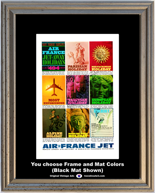 1961 Air France Jet Parisian Mediterranean Vintage Ad Tahitian European Alpine Holiday Vacation Travel *You Choose Frame-Mat Colors-Free USA S&H*