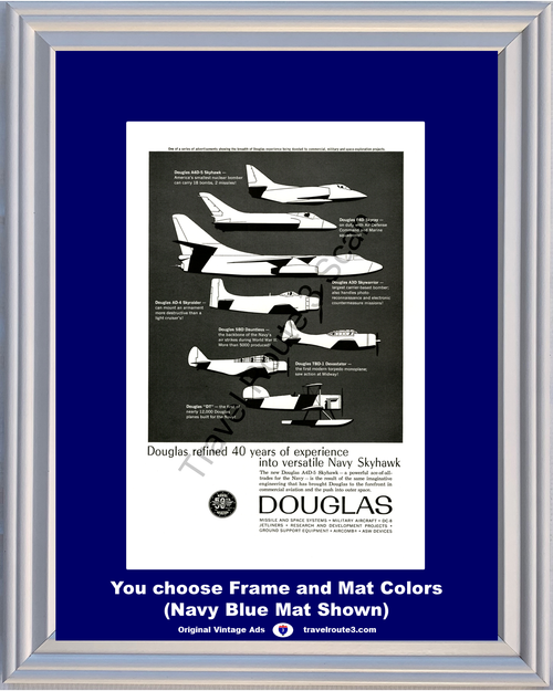 1961 Douglas Military Aircraft Navy Vintage Ad A4D-5 Skyhawk Skywarrior Skyraider Dauntless Devastator 61 *You Choose Frame-Mat Colors-Free USA S&H*