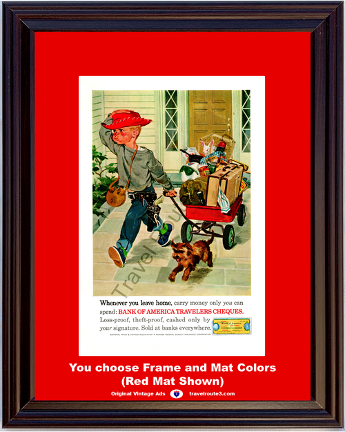 1961 Child Running Away Humor Vintage Ad Red Wagon Puppy Bank of America Travelers Cheques Checks Travel 61 *You Choose Frame-Mat Colors-Free USA S&H*