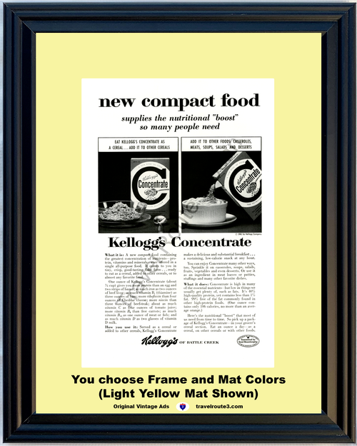 1961 Kellogg's Nutritional Concentrate Cereal Vintage Ad Compact Food Protein Vitamins Minerals 61 *You Choose Frame-Mat Colors-Free USA S&H*