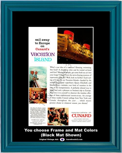 1961 Cunard Cruise Lines Vintage Ad Vacation Islands Queen Elizabeth Mary Europe Travel 61 *You Choose Frame-Mat Colors-Free USA S&H*