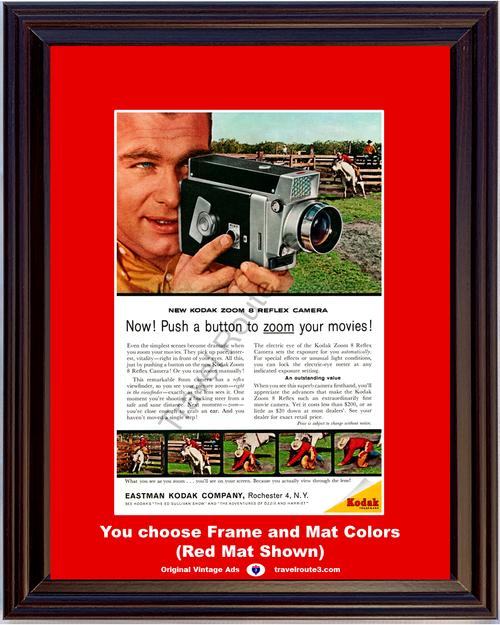 1961 61 Eastman Kodak Zoom 8 8mm Reflex Movie Camera Bucking Steer Rodeo Cowboy Vintage Ad