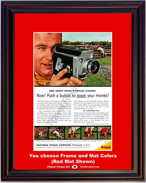 1961 Eastman Kodak Zoom 8 8mm Vintage Ad Reflex Movie Camera Bucking Steer Rodeo Cowboy 61 *You Choose Frame-Mat Colors-Free USA S&H*