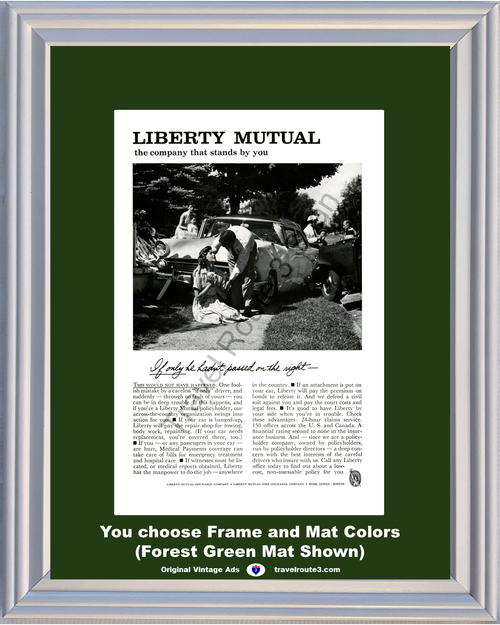 1961 Liberty Mutual Auto Automobile Insurance Vintage Ad Car Accident Medical Payments 61 *You Choose Frame-Mat Colors-Free USA S&H*