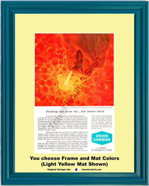 1961 Union Carbide Steel Vintage Ad Steelmaking Furnace Oxygen Plant Molten Metal Industry 61 *You Choose Frame-Mat Colors-Free USA S&H*