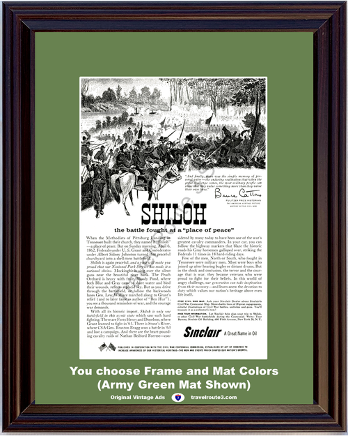 1961 Sinclair Oil Civil War Vintage Ad Shiloh National Park History Bruce Catton Quote Travel Vacation 61 *You Choose Frame-Mat Colors-Free USA S&H*