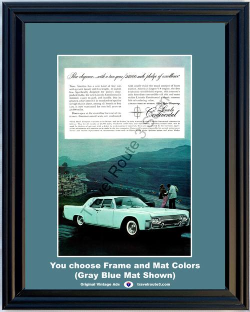 1961 61 Lincoln Continental Luxury Elegance Fine Car Blue Vintage Ad