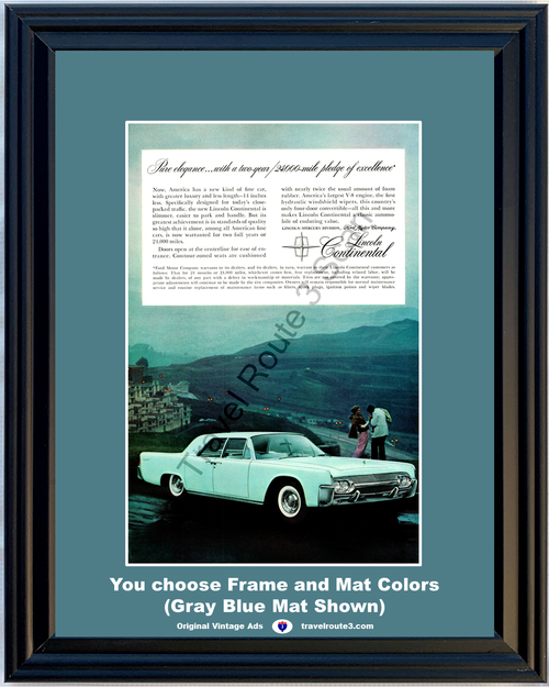 1961 Lincoln Continental Vintage Ad Luxury Elegance Fine Car Blue 61 *You Choose Frame-Mat Colors-Free USA S&H*