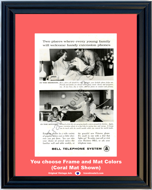 1961 Bell Telephone Vintage Ad Extension Rotary Dial Phones Princess Wall Bedroom Kitchen 61 *You Choose Frame-Mat Colors-Free USA S&H*