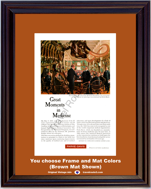 1961 Parke Davis Vintage Ad Founding of the American Medical Association AMA Academy of Natural Sciences 61 *You Choose Frame-Mat Colors-Free USA S&H*