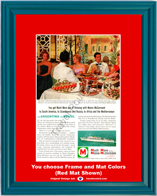 1961 Moore McCormack Cruise Lines Vintage Ad South America Scandinavia Russia Africa Mediterranean Travel *You Choose Frame-Mat Colors-Free USA S&H*
