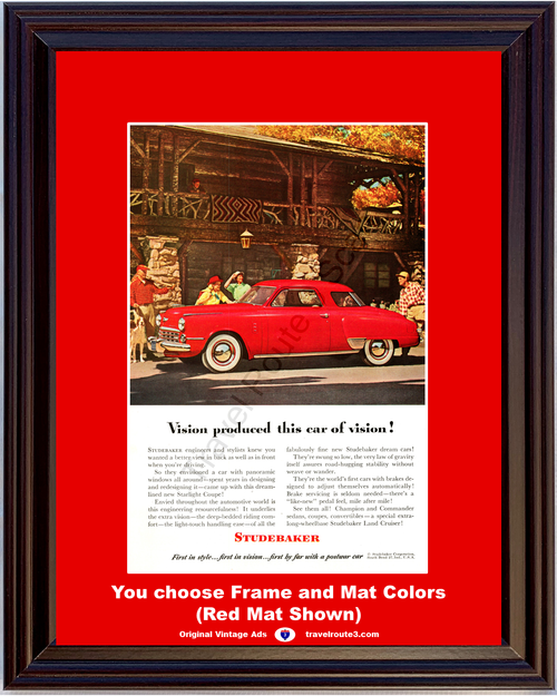 1949 Studebaker Champion Commander Vintage Ad 49 Red 2 Door Late 1948 Ad *You Choose Frame-Mat Colors-Free USA S&H*