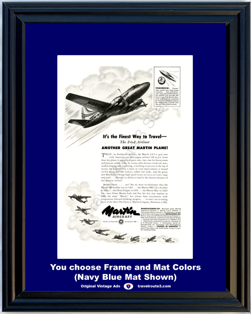 1948 Martin Aircraft 2-0-2 Airliner Vintage Ad Northwest Airlines Plane History 48 *You Choose Frame-Mat Colors-Free USA S&H*