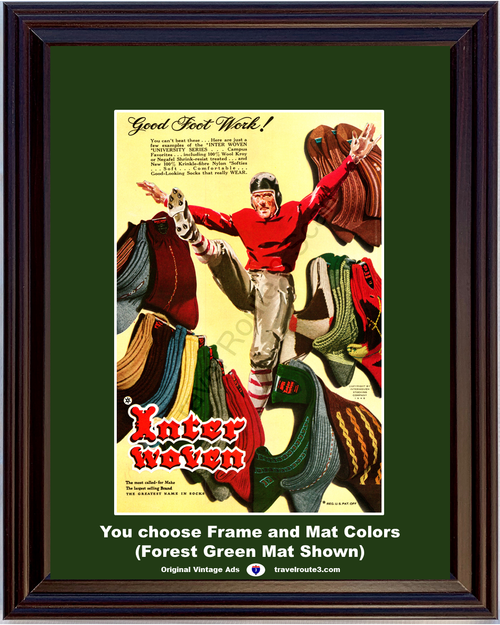1948 Inter Woven Socks Vintage Ad Good Foot Work University Series Football Sports 48 *You Choose Frame-Mat Colors-Free USA S&H*