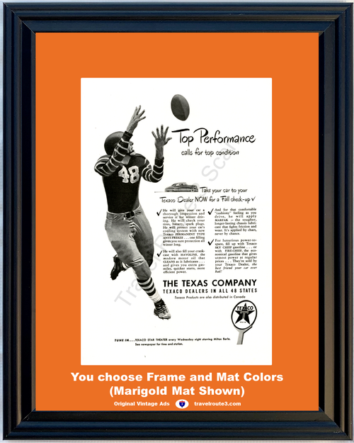 1948 Texaco Oil Gas Gasoline Vintage Ad Fall Autumn Check Up Football 48 *You Choose Frame-Mat Colors-Free USA S&H*