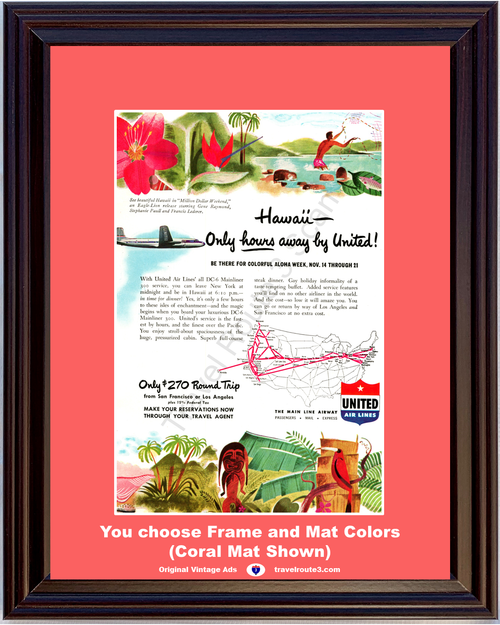 1948 United Air Lines DC-6 Vintage Ad Airplane Hawaii Aloha Week Vacation Travel 48 *You Choose Frame-Mat Colors-Free USA S&H*