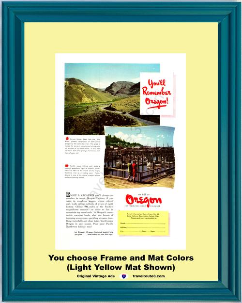 1948 Oregon Picture Vintage Ad Gorge John Day River Astoria Vacation Lands Travel 48 *You Choose Frame-Mat Colors-Free USA S&H*