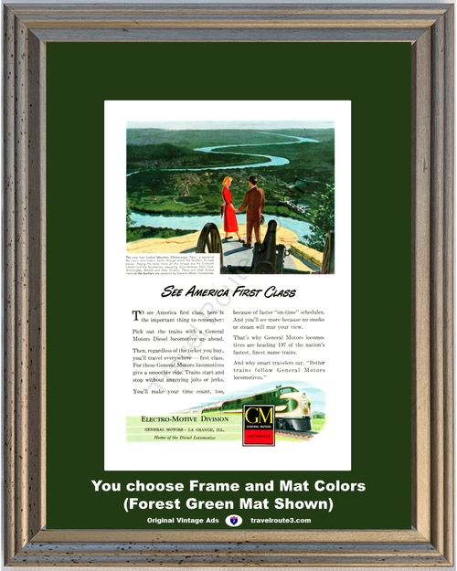 1948 Lookout Mountains Chattanooga Vintage Ad TN General Motors Train Locomotive Engines Travel 48 *You Choose Frame-Mat Colors-Free USA S&H*
