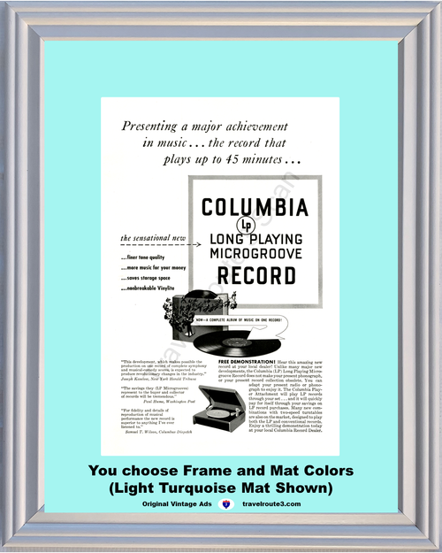 1948 Columbia Record LP Vintage Ad Long Playing Microgroove Vinylite Phonograph Player 48 *You Choose Frame-Mat Colors-Free USA S&H*