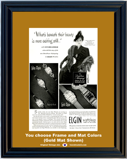 1948 Elgin Watches Vintage Ad Lord Lady De Luxe Deluxe Ann Delafield DuBarry Success School 48 *You Choose Frame-Mat Colors-Free USA S&H*