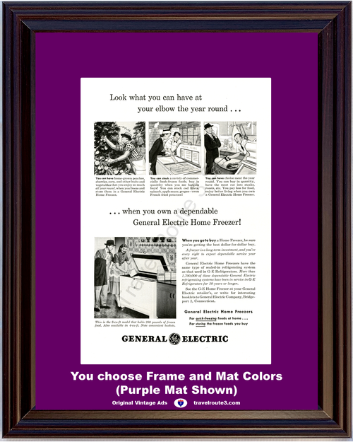 1948 General Electric GE Vintage Ad Electric Home Freezer Appliance 48 *You Choose Frame-Mat Colors-Free USA S&H*
