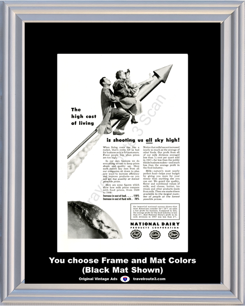 1948 National Dairy Products Milk Vintage Ad Cheese butter Ice Cream Cost Affordability Rocket 48 *You Choose Frame-Mat Colors-Free USA S&H*