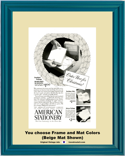 1948 American Stationery Vintage Ad Fine Rag Content Envelopes Sheets Paper Christmas 48 *You Choose Frame-Mat Colors-Free USA S&H*
