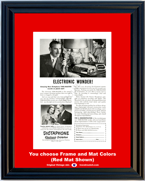 1948 Dictaphone Time Master Vintage Ad Electronic Dictation Memobelt Dictating 48 *You Choose Frame-Mat Colors-Free USA S&H*