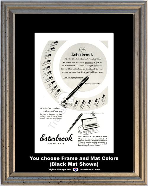 1948 Esterbrook Fountain Pen Vintage Ad and Push Pencil Set Calligraphy Writing 48 *You Choose Frame-Mat Colors-Free USA S&H*