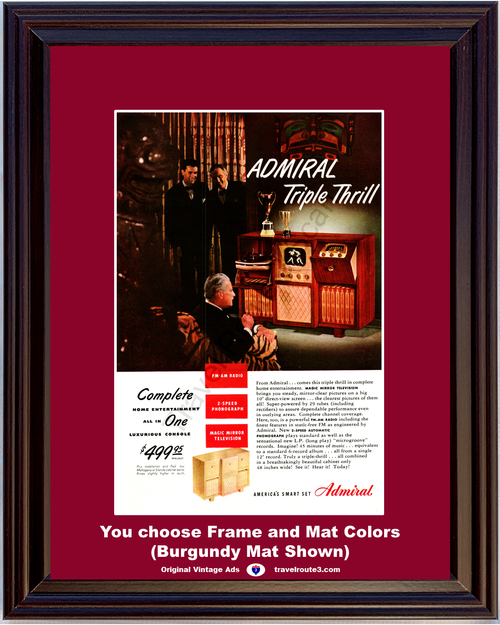 1948 Admiral Magic Mirror Television Vintage Ad TV 2 Phonograph Record Player Microgroove FM AM Radio 48 *You Choose Frame-Mat Colors-Free USA S&H*