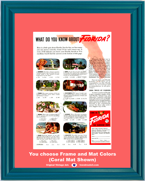 1948 Florida Quiz Sunshine State Vintage Ad Swimming Fishing Beach Winter Vacation Travel 48 *You Choose Frame-Mat Colors-Free USA S&H*