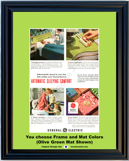 1948 General Electric GE Vintage Ad Automatic Blanket Heating 48 *You Choose Frame-Mat Colors-Free USA S&H*