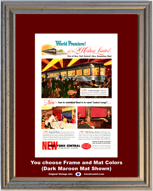 1948 New York Central System Vintage Ad Streamlined Diesel Train World Premiers 48 *You Choose Frame-Mat Colors-Free USA S&H*