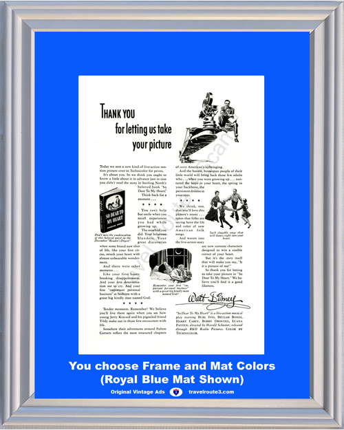 1948 Walt Disney Vintage Ad So Dear To My Heart Movie Motion Picture Musical Play 48 *You Choose Frame-Mat Colors-Free USA S&H*