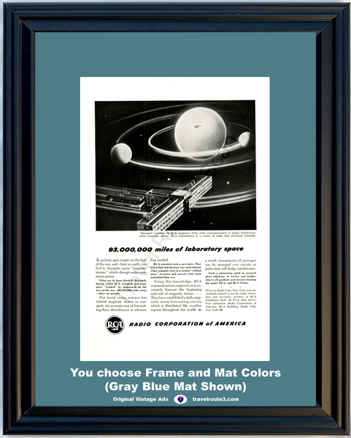 1948 RCA Radio Corporation of America Vintage Ad Sunspot Communications Electronic Research 48 *You Choose Frame-Mat Colors-Free USA S&H*