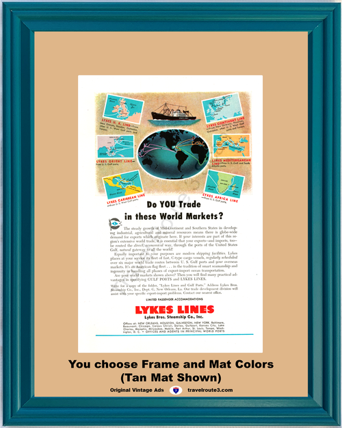1948 Lykes Lines Gulf Ports Steamship Vintage Ad Shipping World Markets 48 *You Choose Frame-Mat Colors-Free USA S&H*