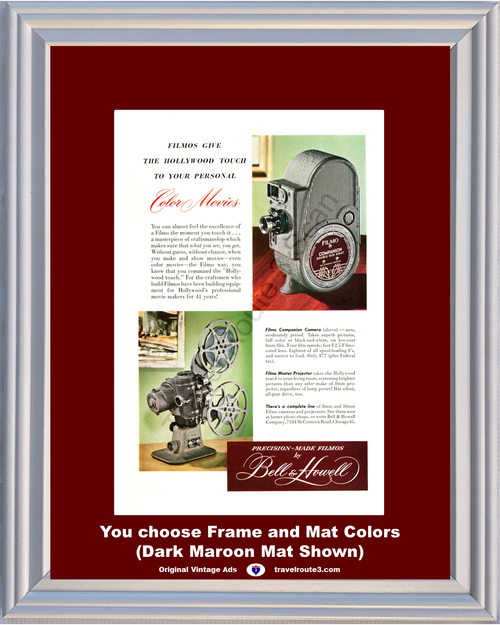 1948 Bell & Howell Filmo Color Movie Camera Vintage Ad Projector 8mm 16mm 48 *You Choose Frame-Mat Colors-Free USA S&H*