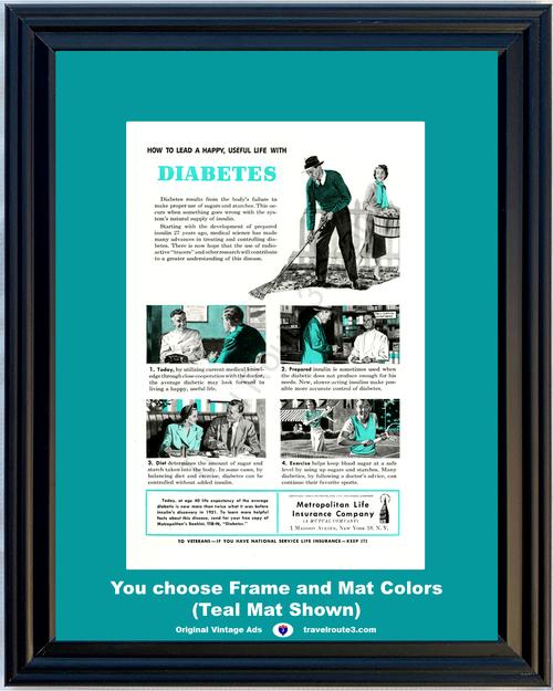 1948 Metropolitan Life Insurance Diabetes Vintage Ad Met Health and Wellness 48 *You Choose Frame-Mat Colors-Free USA S&H*