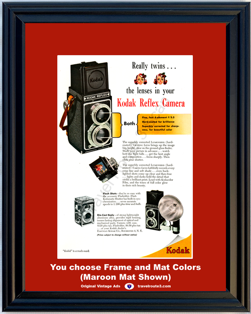 1948 Kodak Reflex Camera Vintage Ad Lumenized Viewing Lens Kodamatic Shutter Flash 48 *You Choose Frame-Mat Colors-Free USA S&H*