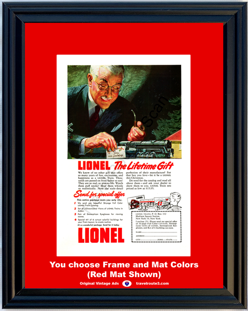 1948 Lionel Train Sets Vintage Ad Layout Lifetime Gift Christmas 48 *You Choose Frame-Mat Colors-Free USA S&H*