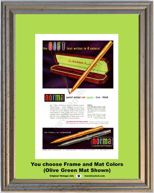 1948 Norma 4 Color Pencil of Tomorrow Vintage Ad Red Green Blue Black 48 *You Choose Frame-Mat Colors-Free USA S&H*