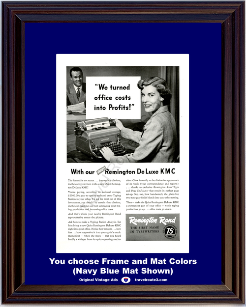 1948 Remington Rand Typewriter Vintage Ad Quiet De Luxe KMC Office Typing Station 48 *You Choose Frame-Mat Colors-Free USA S&H*