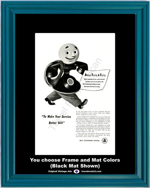 1948 Rotary Dial Phone Vintage Ad Bell Telephone Service Poem Replacing Party Lines 48 *You Choose Frame-Mat Colors-Free USA S&H*