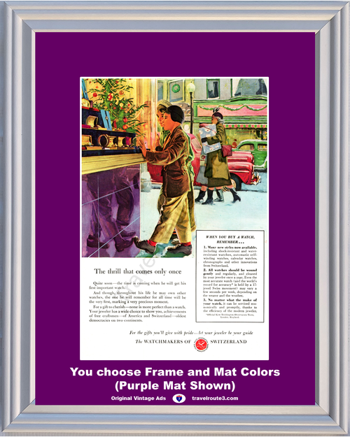 1948 Watchmakers of Switzerland Vintage Ad Christmas Shopping Watch Jeweler 48 *You Choose Frame-Mat Colors-Free USA S&H*